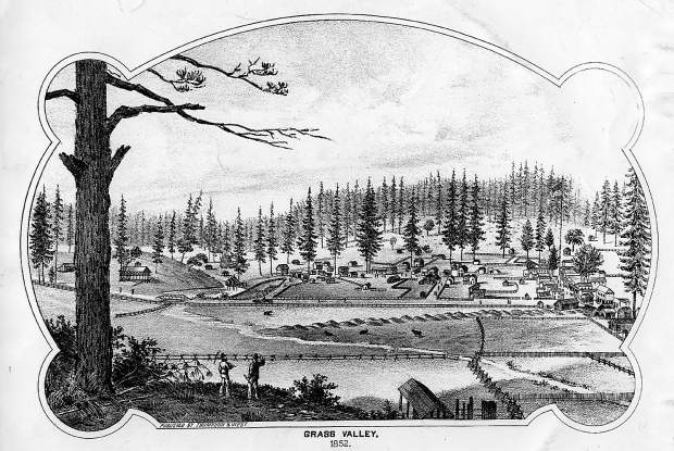 A lithograph of Grass Valley, looking west from Cemetery Hill, as redrawn in 1880 from a second artist's sketch done in 1852.