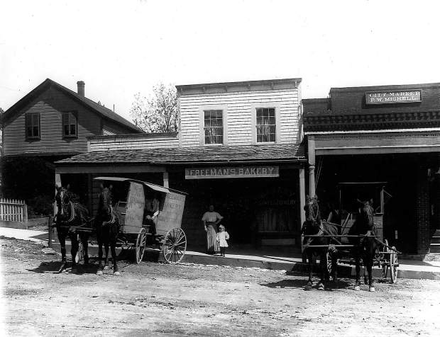 Delivery wagon in front of Freeman's Bakery in the 1890s, two doors north of the Holbrooke Hotel in Grass Valley, and today the site of Tofanelli's restaurant.