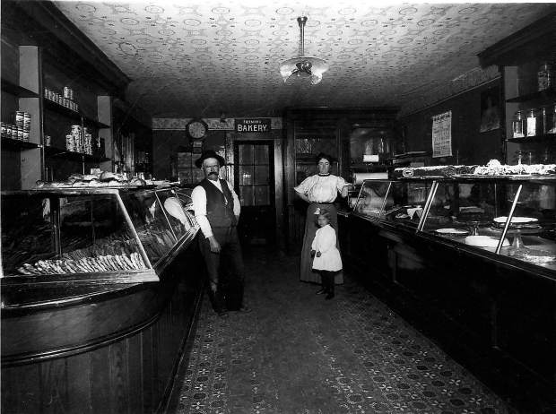 Interior of Freeman's Bakery on West Main Street in the 1890s, two doors north of the Holbrooke Hotel in Grass Valley, and today the site of Tofanelli's restaurant.