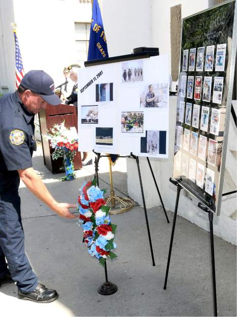 Grass Valley Fire firefighter Chris Oliver put a wreath for the fallen firefighters in New York City on  9/11.