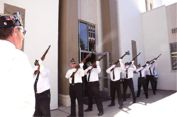 American Legion Frank Gallino Post 130, held a 9/1 tribute, Thursday at noon, in front of the Grass Valley Veterans Hall, South Auburn Street, Grass Valley. The rifle squad salute volley by Post 130 All Veterans Honor Guard.