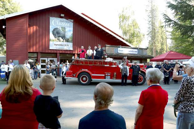 Remembering 9/11 memorial event during the Roamin Angels Car Show at the Nevada County Fairgrounds Sunday morning.