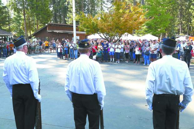 Remembering 9/11 memorial event during the Roaming Angels Car Show at the Nevada County Fairgrounds Sunday morning.