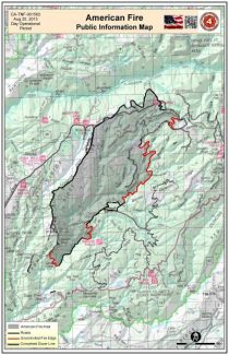 Photo courtesy of the U.S. Forest Service. A map of the American Fire's coverage area.