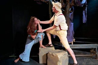 """The delicate wooing of Audrey and Touchstone in Synthetic Unlimited's production of """"As You Like It,"""" running Thursday- Aug. 10 at the Synthetic Unlimited Opera House at 120 Joerschke Drive, Grass Valley."""