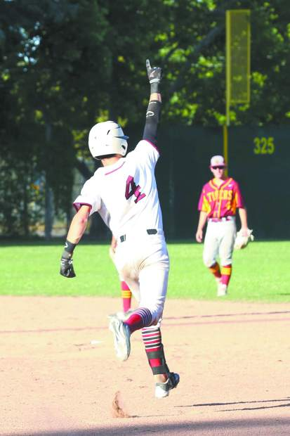Bear River's Jake Rodgers hits a walk-off home run during a playoff game against Los Banos.