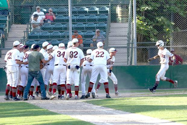 Bear River's Jake Rogers hits a walk-off home run during a playoff game against Los Banos Wednesday afternoon.