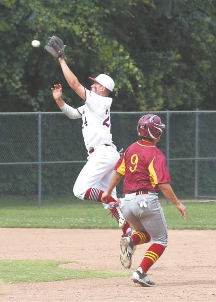 Bear River's Matt Lopez catches the ball at second base during a playoff game against Los Banos Wednesday afternoon.