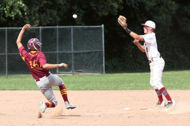 Bear River's Bear Belding catches the ball at second base during a playoff game against Los Banos Wednesday afternoon.