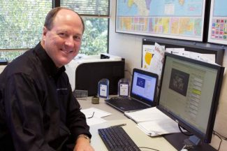 Telestream CEO Dan Castles displays captioning software, used to create captions for television and online programs, on his computer.
