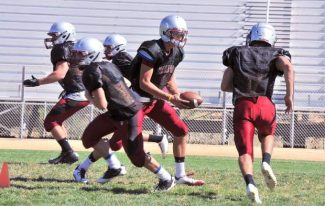 Bear River High School football practice, Friday afternoon, August 16, 2013.