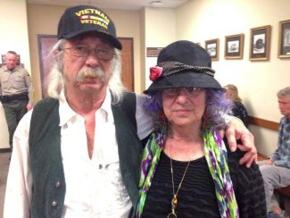 Harvey and Judy Bigelsen  pause prior to Friday's hearing At Nevada County Courthouse in Nevada City.