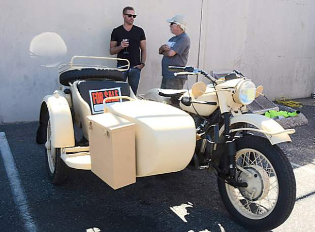 Jon Pilannd (left) and Tom Dalldorf (right) at the inaugural Bikes & Beer Show at 'ol Republic Brewery. Dalldorf  owns the 2001 Ural Russian Sidecar motorcycle.
