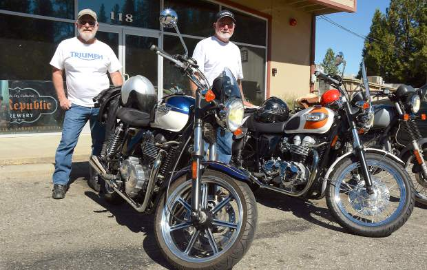 Jack Clute and George Hartmann with their  Triumph bikes at ol' Republic Brewery. The inaugural Bikes & Beer Show took place Saturday.
