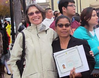 Ellen Hagan, tutor, with her student, Jinda, who recently became a U.S. citizen with the help of Hagen.