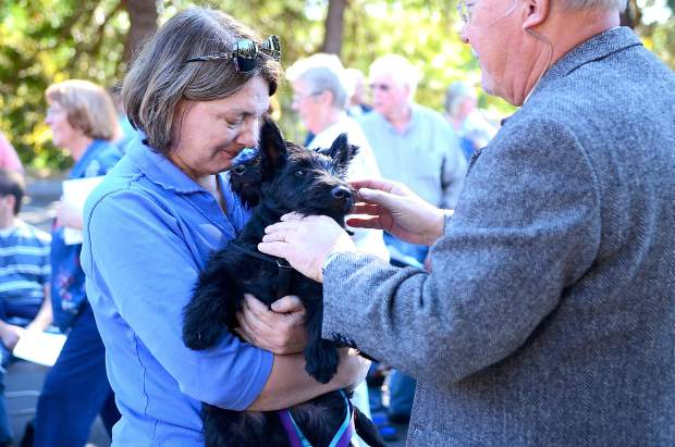 Blessing of the Animals took place Saturday morning at Peace Lutheran Church in Grass Valley, in the spirit of St. Francis of Assisi. Rev. David Mullen blesses the animals.
