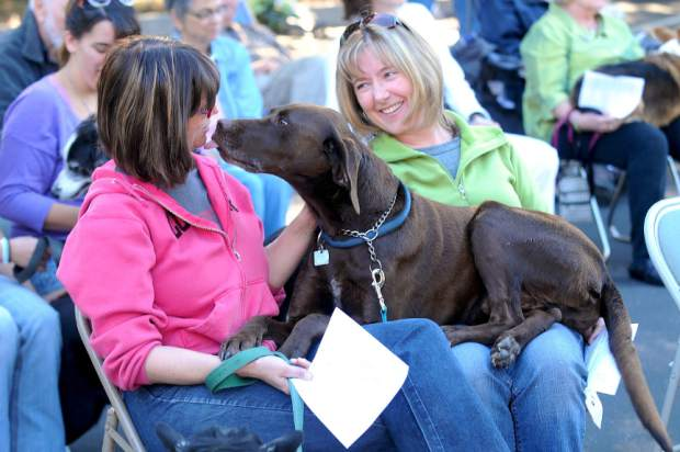 In the spirit of St. Francis of Assisi, a Blessing of the Animals took place Saturday morning at Peace Lutheran Church in Grass Valley. Chip the dog sits on the laps of Anne Vaaler, lef,t and Manette Shuholm, kissing Vaaler's face.