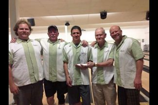 The Pine St. Burgers bowlers pose with their Twin Cities Bowling League championship trophy. The Pine St. Burgers team is composed of Danny Brock, Doug Huntington, Jack Keck, Ron Teitel, Aaron Richie and Tom Triplett.