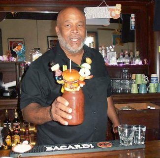 Brian Price shows off a bloody mary at Burgee Dave's at The Mayo in Camptonville.