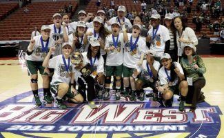 Cal Poly celebrates their victory in the NCAA Big West tournament women's championship basketball game in Anaheim, Calif., Saturday, March 16, 2013. Cal Poly won, 63-49. (AP Photo/Reed Saxon)