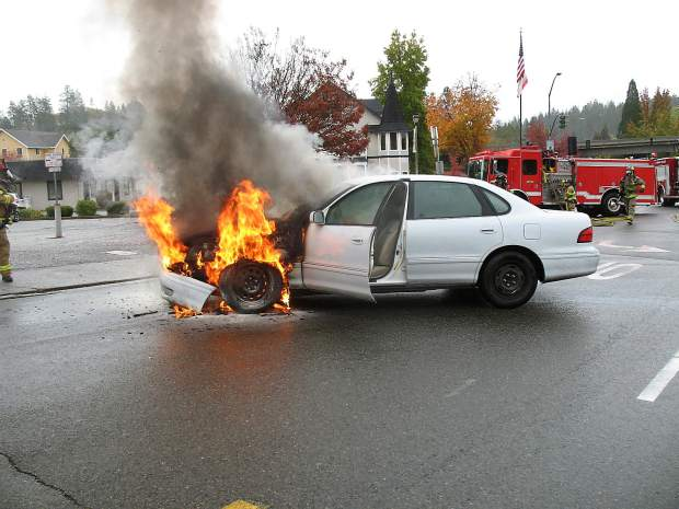Mike Meals sent in these photos of a vehicle that caught on fire in the Safeway parking lot on Neal Street in Grass Valley at about 10:19 a.m. Sunday. According to Meals, the driver was uninjured and the cause was uncertain. It appeared as if he was making a left turn out of the lot when the car unexpectedly caught fire, Meals said. Grass Valley firefighters responded and quickly extinguished the flaming vehicle.
