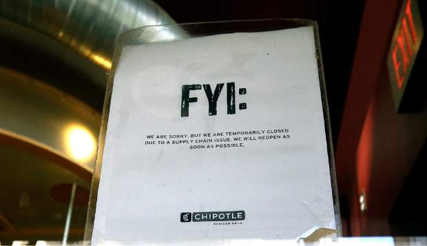 A sign posted on the door of a Chipotle restaurant in Portland, Ore. reads that the location is