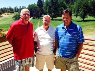 LOW BALL: A few of the winners from the Nevada County Country Club's Best 9 tournament posefor a picture together. From left Bob Flecksteiner (low net, second flight), Bob Alvares (low gross, second flight) and Dan Triano (low net, first flight).