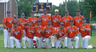 Top row from left: Tyler Phillips, Aaron Glaum, Mark Summers, Nick Freitas, Nate Dondero, Mario Pereira and Kary Moore. Bottom row from left: Kevin Fontana, Adam Traugh, Jabari Wimbs, Joel Manfredi,  Brandon Sherear, Ed Gaspar and Rusty Newman. The Roseville Eagles won the North American Fastpitch Association's World Series A-Major Championship.