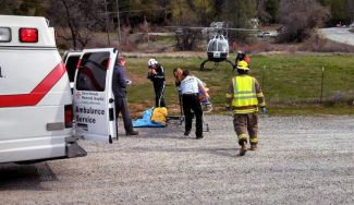 A motorcyclist was taken to Roseville after being involved in a single-vehicle collision with a tree in the North San Juan area.