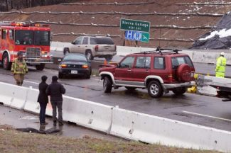 A two vehicles were involved in an accident on the freeway in the construction zone near Dorsey Drive Tuesday afternoon. The southbound lanes were closed between Brunswick Road andthe  East Main Street off-ramp.