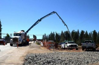 Pouring cement with a pumper last June, 2013 for the Dorsey Drive overpass in Grass Valley.
