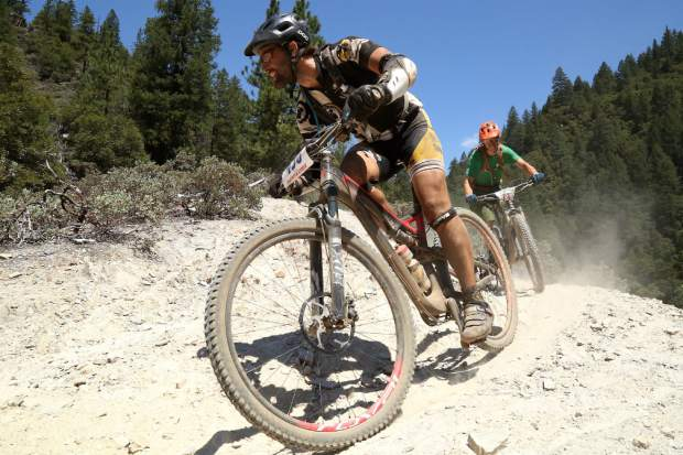 Mountain bikers participate in the Downieville Classic on Saturday.