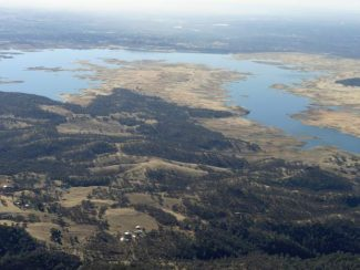 The levels of Folsom Lake are historically low as extreme drought has gripped much of California.