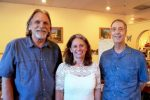 District 2 candidate Richard Harris, District 1 candidate Heidi Hall and Chair of Nevada County Democratic Central Committee Jim Firth at Margarita's Mexican Restaurant in Grass Valley Tuesday evening.