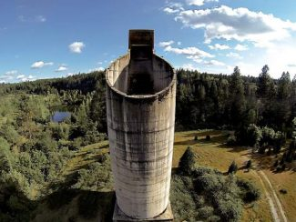 The former Idaho Maryland Mine's concrete silo located off Milsite Road, near the intersection of East Bennett and Brunswick roads. The silo is part of an overall area of the former mine that Emgold Mining Corporation has been trying to develop.