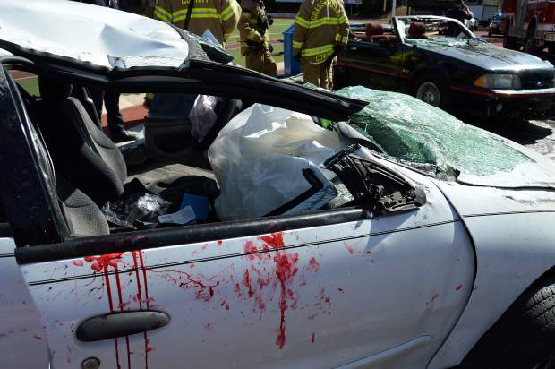 A car was heavily damaged as part of an Every 15 Minutes mock collision Wednesday at Nevada Union High School.