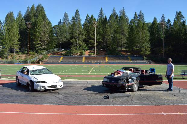 The scene of mock collision as part of the Every 15 Minutes program presented at Nevada Union High School Wednesday.