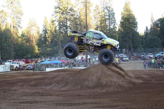Wrongway Rick blasts over a kicker during the Monster Truck show at the Nevada County Fair on Friday.