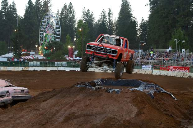 Trucks prove how tough they really are during the Tuff Trucks show at the Nevada County Fair on Friday.