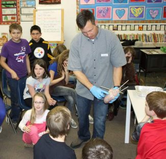 Students in Julie Bair's fifth grade class at Seven Hills School observe Dr. Tom Luisetti, an anesthesiologist at Sierra Nevada Memorial Hospital, dissect a pig heart recently as a culminating lesson for their science unit on the body.
