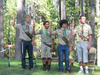 Four local teens received their Eagle Badges May 31. Collin Echols, Joe Voight, Todd Griffiths, Irvin Jones. Only 2 percent of Boy Scouts earn their Eagle Badge.