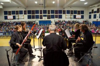 """Music in the Mountains presented a """"Music Live"""" all school assembly for Union Hill School students Wednesday. About 650 preschool to eighth grade students attended the concert in the school's gymnasium, including some from the Union Hill Charter Homeschool."""