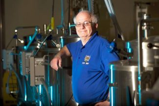 Professor Charlie Bamforth of Food Science and Technology stands in the brewery Jan. 17, 2014 at UC Davis.
