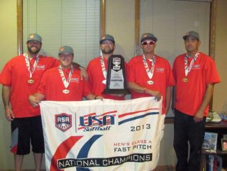 From left: Justin Deme, Kyler Caldwell, Will Maddux, Donavan Chilton and Ben Maddux pose with their American Softball Association National Championship banner, medals and trophy.