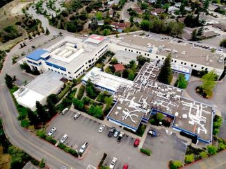 At aerial view of Sierra Nevada Memorial Hospital, located at 155 Glasson Way, Grass Valley.