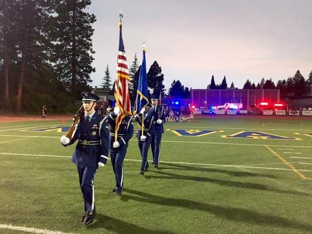 National Anthem at Hooper Stadium before the Nevada Union and Lincoln high school football game Friday night.
