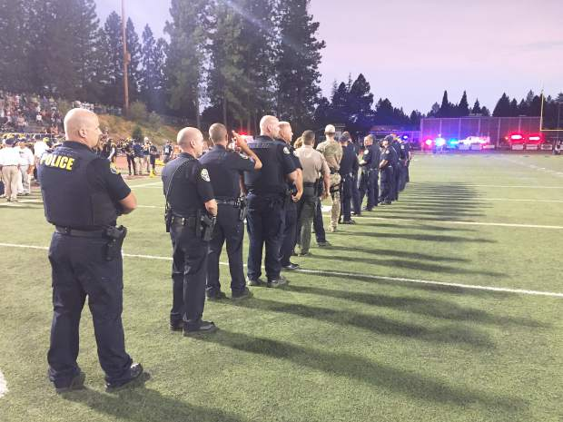 National Anthem at Hooper Stadium before the Nevada Union and Lincoln high school football game Friday night. Law enforcement and emergency response officers were honored.