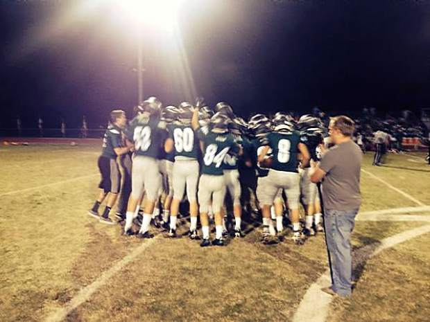 Colfax high school football players getting pumped before their game against Dixon Friday night.