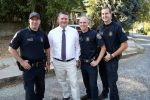 """Grass Valley Police Sgt. Joe Matteoni, Sgt. Dan Kimbrough, Lt. Alex Gammelgard and Officer Clint Lovelady are part of a community policing initiative that works to resolve issues at """"problem houses"""" such as this one on Buena Vista Street."""