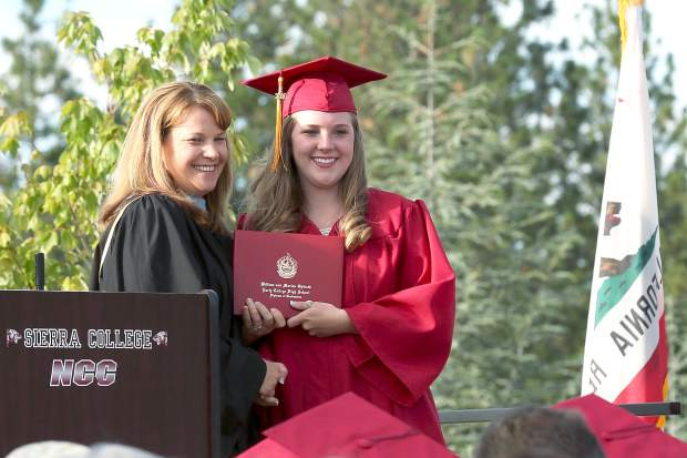 Brenna Albaugh graduates from Ghidotti Early College High School at Sierra College's Nevada County campus Wednesday evening.